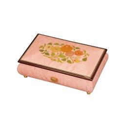 可愛らしいピンク色 象嵌 小物入れ オルゴール アイルビーゼアー