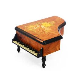 木象嵌が上品なピアノ型オルゴール やさしさに包まれたなら